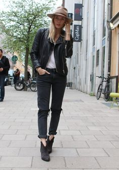 leather  denim #style #fashion