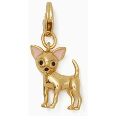 Kate Spade Chihuahua Charm ($24) ❤ liked on Polyvore featuring jewelry, pendants, charm jewelry, kate spade charm, kate spade, kate spade jewelry and golden jewelry