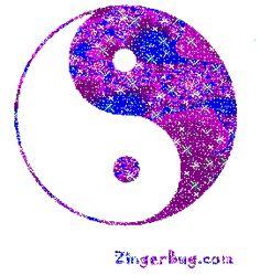 Yin Yang Purple Glitter Symbol MySpace Glitter Graphic Comment