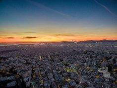 Sunset in Athens from above Aerial Photography, Athens, Celestial, Sunset, Outdoor, Outdoors, Sunsets, Outdoor Games, The Great Outdoors