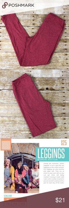 LuLaroe Leggings Heathered Red OS Like New LuLaroe Leggings Heathered Red OS Like New.  One Size is 2-12. Made in China.  Buttery Soft! LuLaRoe Pants Leggings
