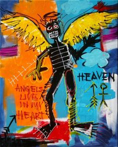 Angel, Inspired by Basquiat by Augusto Sanchez Jean Basquiat, Jean Michel Basquiat Art, Rock Horror Picture Show, Basquiat Paintings, Basquiat Artist, Pop Art, Art Brut, Art Walk, Outsider Art