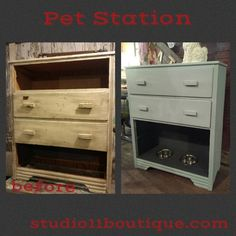 Another great save from a broken down piece of furniture!  pamper your pets with a great Pet Station~!  #TheRealMilkPaintCo mix of French Grey and Soft White