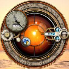 Steampunk Orrery Calendar Clock screenshot 1 - Steampunk Orrery Calendar Clock is a destop widget that provides a unique calendar view.