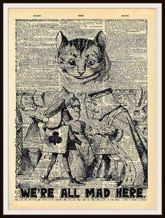 "Alice in Wonderland Cheshire Cat Vintage Art Print on Ephemera Dictionary Book Page Background, 8 x 10"""