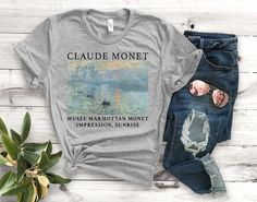 2040e7dc2cddd Claude Monet Impression Sunrise Unisex T-Shirt - Unisex Clothing - Painting  T-Shirts - Art Shirts - Fine Art Tees - Art Tees Series