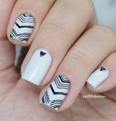 PIcture polish lakodom black and white chevron nail art
