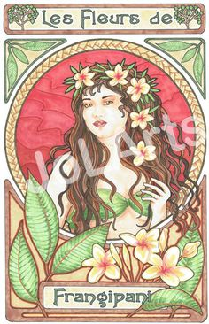 Fine Art. Woman with Frangipani. Art Nouveau by JoLArts on Etsy. The Original is $220, but prints coming soon for $20.