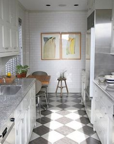 White Galley Kitchen Remodel another option for a small kitchen area..i am obsessed with a