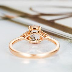 Free Shipping! Free Shipping! Free Shipping! Morganite Engagement Ring Rose Gold Diamond Cluster Ring Oval Cut Promise Bridal Ring Thin Wedding Ring Women Anniversary Gift for Her If you would like any other GEMSTONE set in this ring,please connect me. Product Introduction *Set in solid