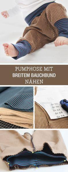 DIY-Anleitung: bequeme Pumphose mit breitem Bauchbund für Babys nähen, Kinderoutfit / DIY tutorial: sewing handy baggy trousers with wide belly band for babies, children's outfit via DaWanda.com
