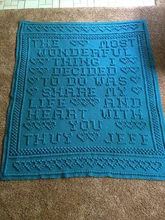 This wedding afghan is from a design that I did for someone. The pattern is not exactly like the picture.