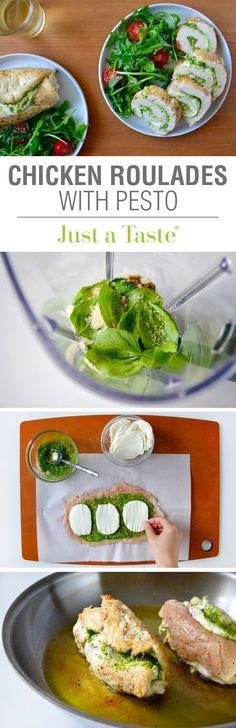 FOR FODMAP, USE GARLIC FREE PESTO MADE WITH GARLIC OIL. Cheesy Chicken Roulades with Pesto #recipe via justataste.com