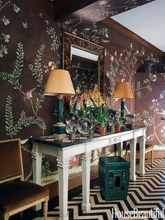 Designer Miles Redd uses an exuberant variation on classic de Gournay wallpaper in the foyer for a dramatic entrance to this Manhattan apartment.   - HouseBeautiful.com