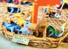 DIY Dinosaur Birthday Party with spiked dinosaur party hats, prehistoric terrariums, chocolate dirt cups, adopt a dino + super cute T-Rex fossil printables Dinosaur Party Favors, Dinosaur Birthday Party, 6th Birthday Parties, Birthday Party Favors, Birthday Fun, Birthday Ideas, Third Birthday, Dinosaur Crafts, Elmo Party