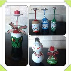 Wine glasses painted - candle holder