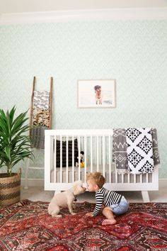 Baby boy nursery, boho nursery, nursery wallpaper, Kaila Walls