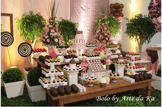 decoração marrom e rosa bolo arte da ka