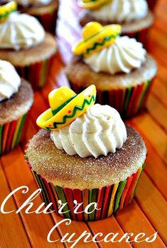 Next time you have a fiesta make sure you add these Churro Cupcakes to the dessert list. Like the snickerdoodle this cupcake is full of cinnamon flavor. Add a sombrero topper and you have a fiesta! Dessert Party, Party Desserts, Dessert Recipes, Gourmet Desserts, Baking Desserts, Plated Desserts, Cupcake Recipes, Mexican Birthday Parties, Mexican Fiesta Party