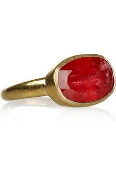 Pippa Small  18-karat gold rhodochrosite ring                        L.  O.  V.  E