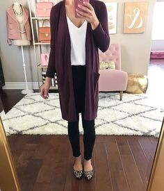 leopard flats, burgundy cardigan, neutral outfit idea, black jeans, fall outfit - click the photo for outfit details!