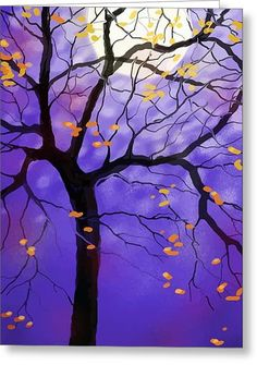 October Night Greeting Card by Sharon Marcella Marston
