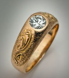 Art Nouveau Mens Rings - diamond solitaire gold ring. 1920's
