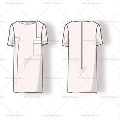 Women's Long Colorblock Dress Fashion Flat Template
