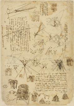 Leonardo da Vinci.  Studi di edifici a pianta centrale con annotazioni di ottica.