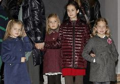 Spanish Infantas Leonor (L) and Sofia (2-L), daughters of Crown Prince Felipe and Princess Letizia, Infanta Elena and Jaime de Marichalar's daughter Victoria Federica (2-R) and Infanta Cristina and Inaki Urdangarin's daughter Irene (R) are pictured as they leave Coliseum theatre at the Gran Via street in Madrid