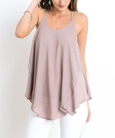 Mauve Cross-Back Handkerchief Top #zulily #zulilyfinds