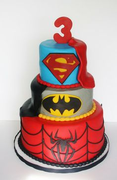 Top two tiers with Green Lantern as the third tier instead of spiderman. Awesome for Essa's April birthday!!!!
