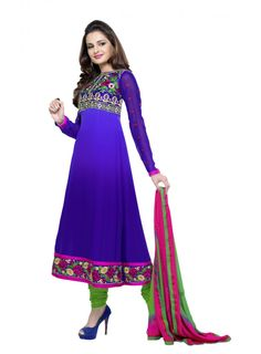 Abida Chiffon Blue Color Suit of Monika Bedi
