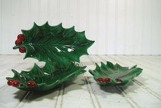 Retro Mid Century Christmas Collection of 3 Large Ceramic Holly Leaves Nesting Plates - Vintage Green Red Belacraft Pottery 3 Candy Dishes $49.00 by DivineOrders