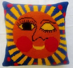 Sun Needlepoint Pillow : made from vintage needlepoint