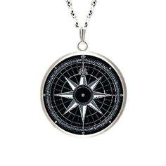 Compass Rose Silver Pendant