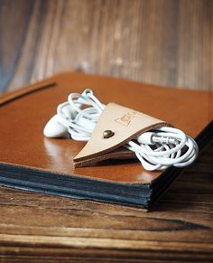 Leather Cord Holder  Earbud Cable Cord Organizer by ESCorner