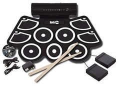 RockJam Portable MIDI Electronic Roll Up Drum Kit with Built in Speakers, Power Supply, Foot Pedals and Drumsticks: Musical Instruments Electric Drum Set, Best Drums, Drummer Gifts, Drum Pad, Drum Lessons, Collage, Built In Speakers, Drum Kits, Boyfriend Gifts