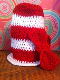 Crochet Photo prop Newborn Dr Seuss Top Hat Cat by ThePoseyPatch, $25.00 -- Need this for Liam's 1st birthday photos