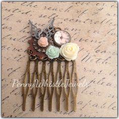 Steampunk Hair Comb, Victorian Hair Comb, Resin Hair Comb, Bridal Accessory