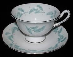 Cup And Saucer Shelley Serenity Gainsborough Aqua Feathers Demitasse