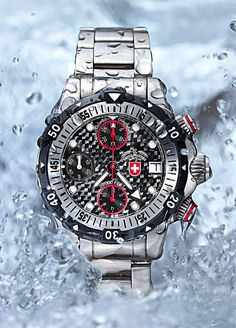 """One of the most water-resistant watches is a model called """"20,000 Feet,"""" from the CX Swiss Military Watch brand made by Montres Charmex. The watch is a tremendously chunky (28.5 mm thick) chronograph with a thick, curved crystal (the curvature enhances the crystal's pressure resistance)."""