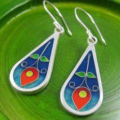 Flor en Azul cloisonne enamel earrings by agoraart on Etsy