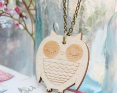 Laser Cut Wooden Owl Necklace