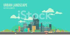 Urban landscape. Flat city. royalty-free stock vector art