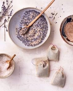 """Lavender oil can help you relax,which makes it a great ingredient for a little sachet to drop in the water when you're drawing a bath. These sweet pouches of """"tub tea"""" are wonderful hostess gifts."""