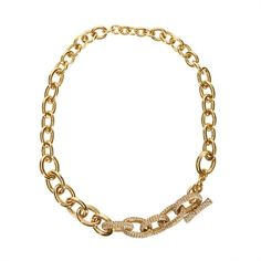 Kate Spade Night lounge toggle pave chain necklace - Clear gold