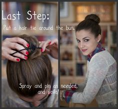 How to create a thick and thin sock bun at home.  Plus, two different ways to style your hair into a sock bun.