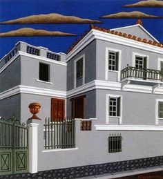 Athenian House of Classicizing Order Old Greek, Greek Art, Greek Paintings, Greek House, House Drawing, Neoclassical, Arts, Exo, Contemporary Art