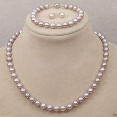 Genuine 8-9Mm Lavender Akoya Freshwater Pearl Necklace Bracelet Earrings